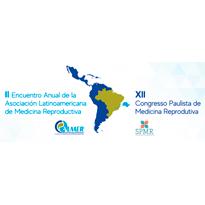 Logo II Encuentro Anual de la Asociación Latinoamericana de Medicina Reproductiva - ALMER e XII Congresso Paulista de Medicina Reprodutiva